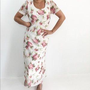 Vintage Polychiffon Rose Print Maxi Dress